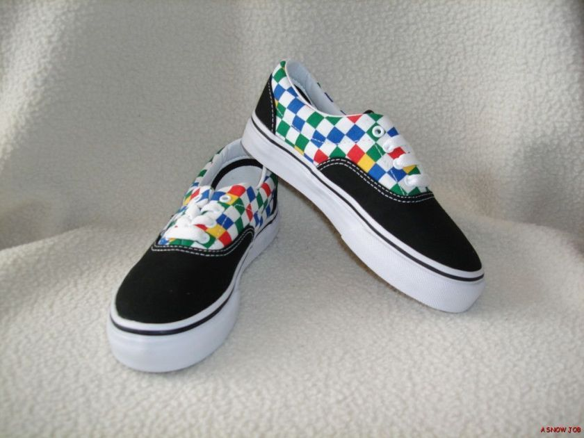 NEW VANS GIRLS YOUTH KIDS CHECKERBOARD ERA SHOES 13